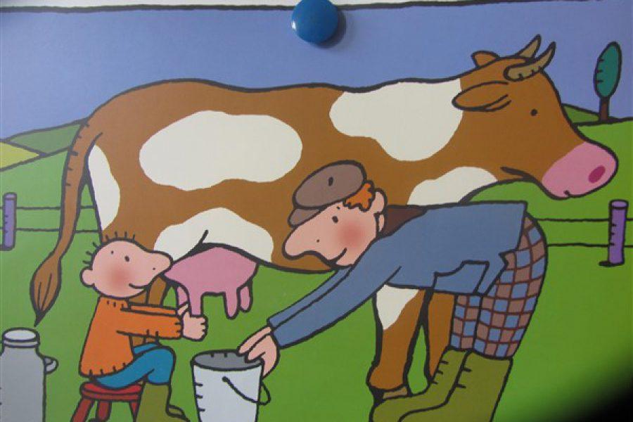 Jules helpt oom Gust op de boerderij! En bezoek van Boer Karel met zijn tractor in 1KB
